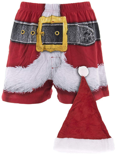 Christmas Boxer Underwear, Men's Santa Claus Boxers, Festive red