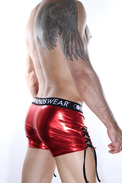 Metallic Look Tie-side Mens Shorts
