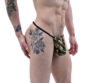 NDS Wear Stylish Military Green Camo G-String