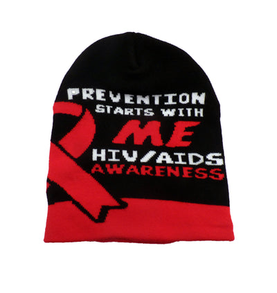 HIV/AIDS Awareness Knit Beanie Skullcap Hat, Walk or Run Cap