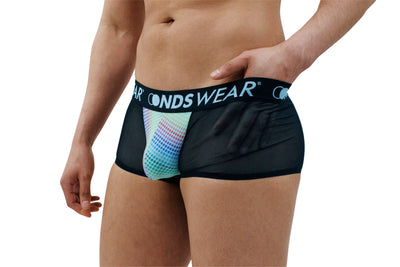 Sheer Black Mens Boxer Brief with Candy Dots