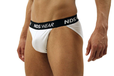 Men's Sports Brief String Bikini Underwear by NDS Wear - White-with-Black - Closeout