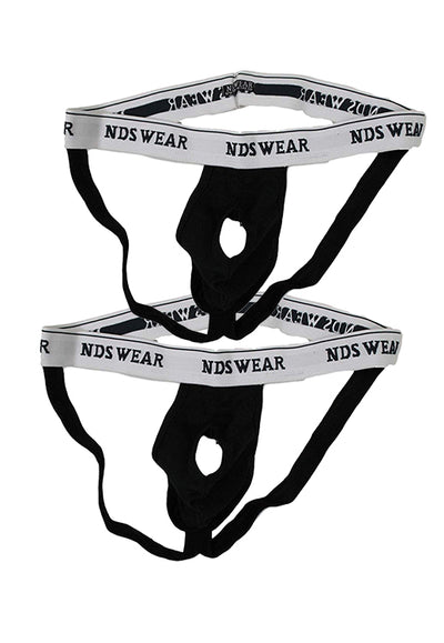 NDS Wear Open Suspensory Jock Strap Black - 2 PACK