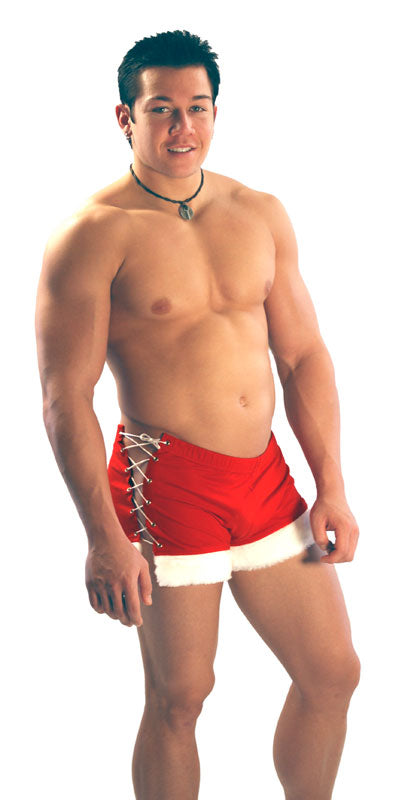 Santa Lace-Up Short Mens - Red and White Sexy Christmas Short