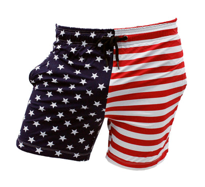 USA Flag Mens Swim Trunk Lined Shorts with Pockets By Neptio