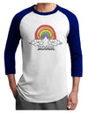 RAINBROS  Adult Raglan Shirt White Royal 3XL Tooloud