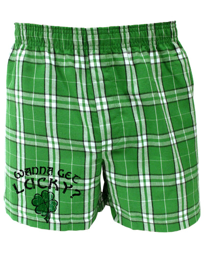 St Patricks Day Fun Kelly Green Plaid Printed Boxers