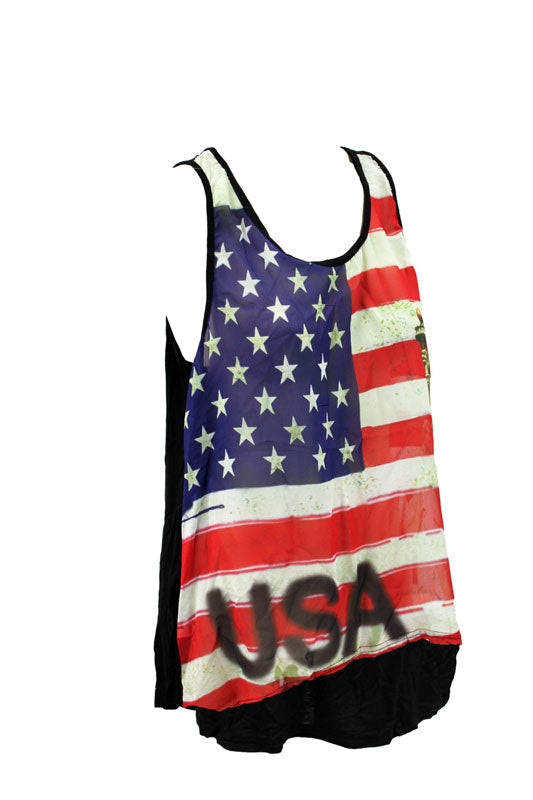 Women's USA Flag and Statue Liberty Loose Tank Top - Clearance
