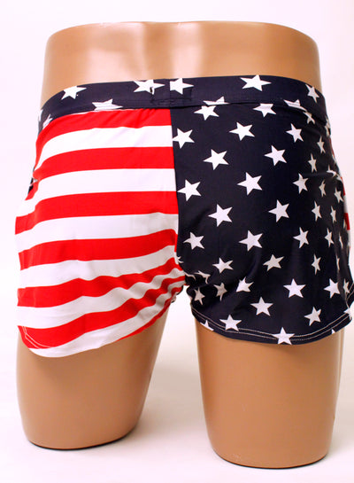 American Flag Side Split Shorts by Neptio