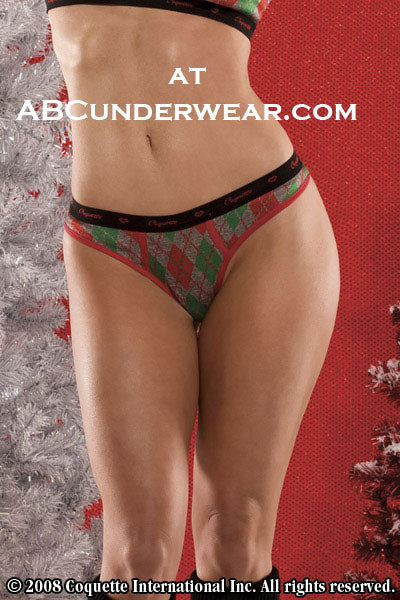Coquette Womens Argyle Thong -Clearance
