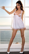 UNDER WIRE BABYDOLL WITH LACE TRIM WITH MATCHING THONG