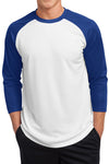 3/4 Sleve Posicharge Polyester Raglan Baseball Jersey Shirt - White & Royal Blue
