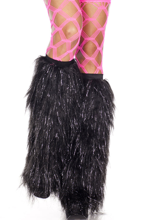 Black Furry Tinsel Leg Warmers