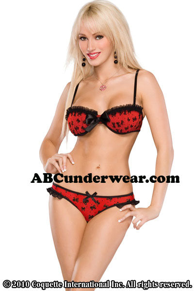 Ladies Bow Mesh Bra & Panty Set -Clearance