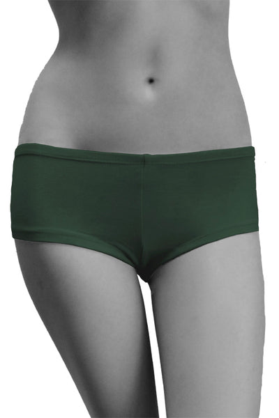 Womens Cotton Spandex Brief Short - Forest Green
