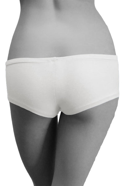 Womens Cotton Spandex Brief Short - White