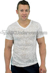 Mens Burnout V Neck T-Shirt