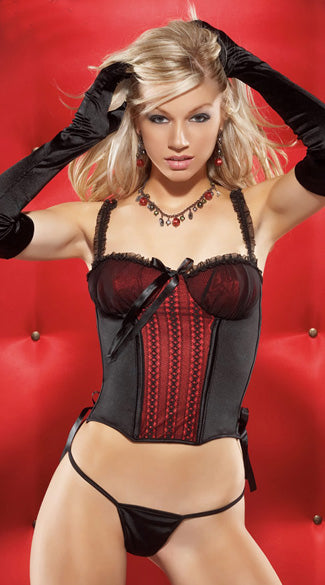 Womens Coquette Black & Red Bustier & Thong Set -Clearance
