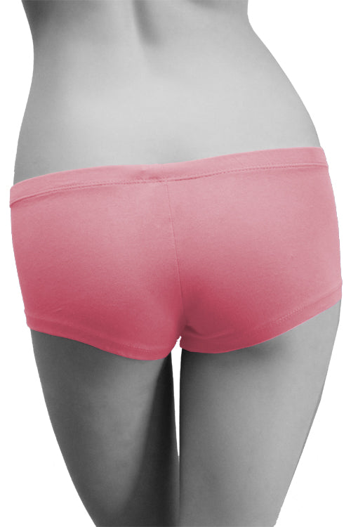 Womens Cotton Spandex Button-Up Boy Short - Pink