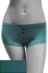 Womens Cotton Spandex Button-Up Boy Short - Deep Sea Teal