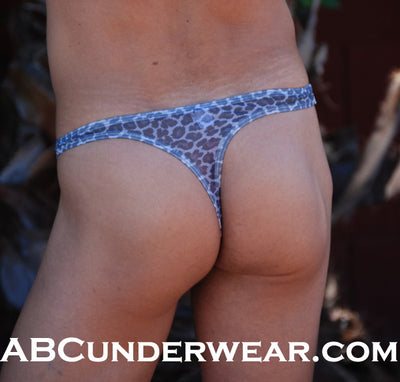 Sheer Black & White Cheetah Thong