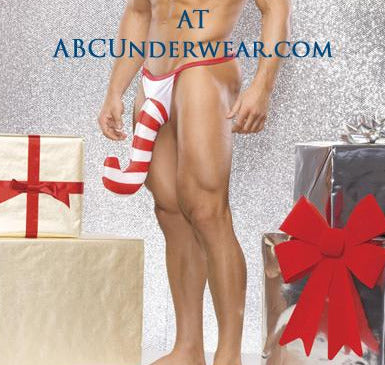 Men's Candy Cane G-String - Christmas Holiday Print