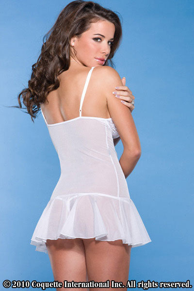 White Scalloped Stretch Lace Chemise - Clearance