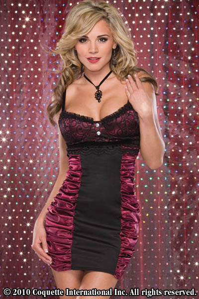 Black & Burgundy Satin Dress - Special-Order