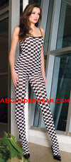 Checker Opaque Bodystocking