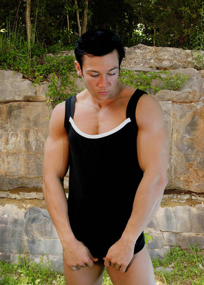 Contrast Square Mens Tank Top By Lodbo