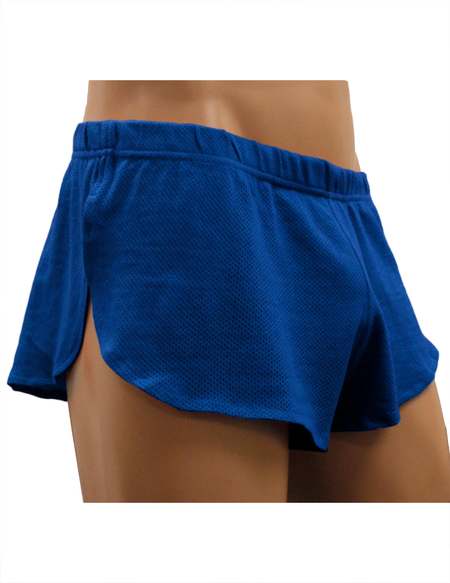 NDS Wear Mens Cotton Mesh Side Split Short Royal Blue