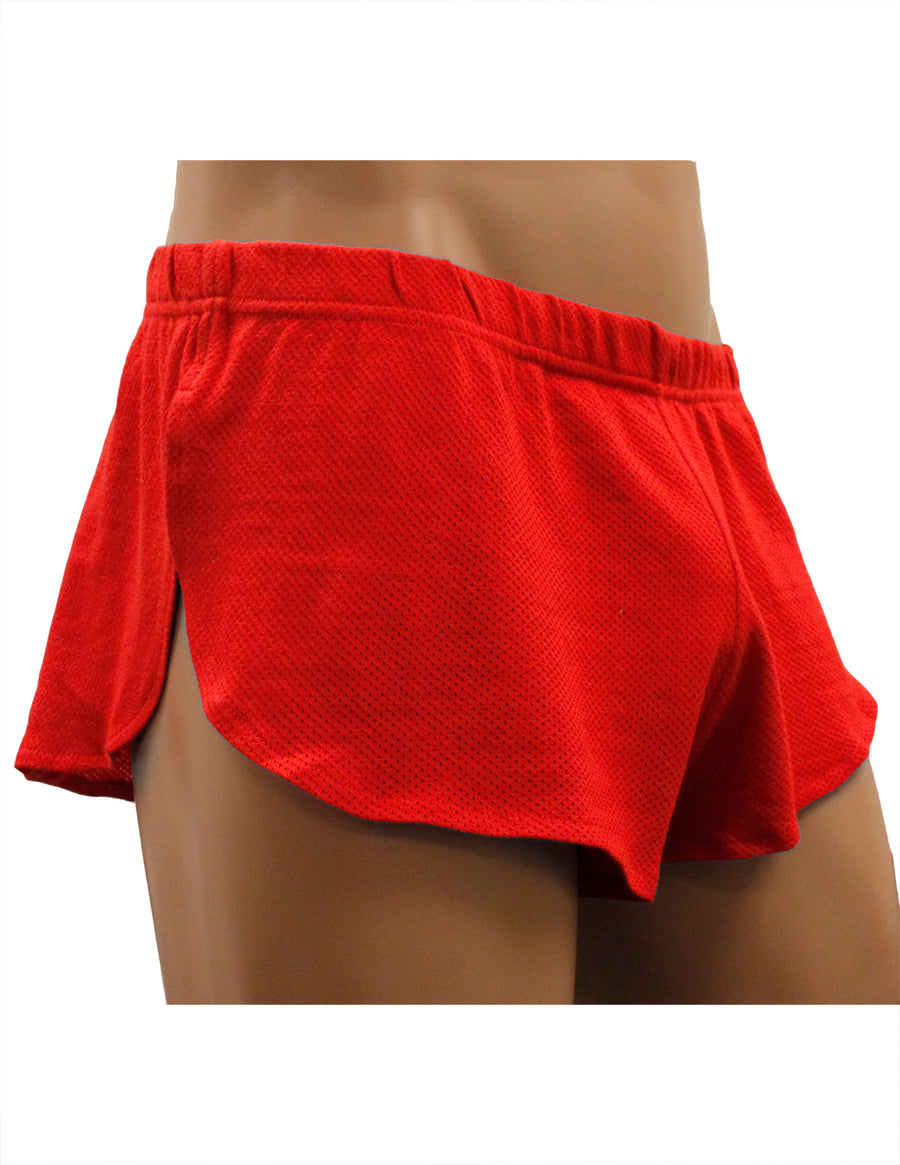 NDS Wear Mens Cotton Mesh Side Split Short Red