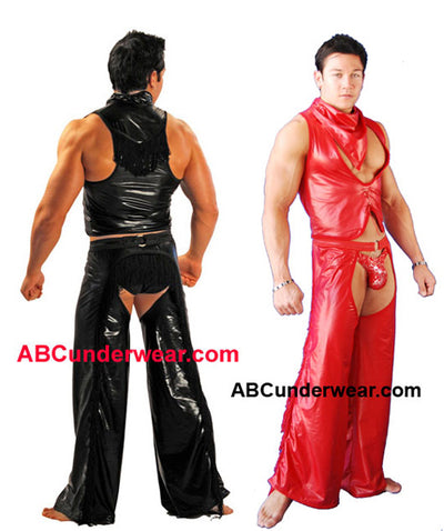 Sexy Men's Black Pleather Cowboy Costume