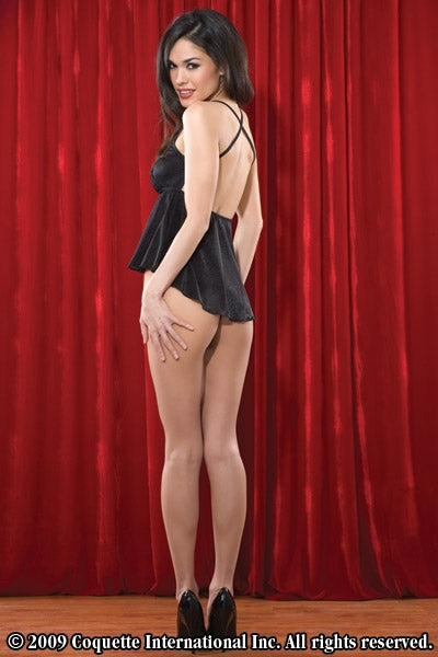 Ladies Black Peek-A-Boo Babydoll & G-String- Clearance