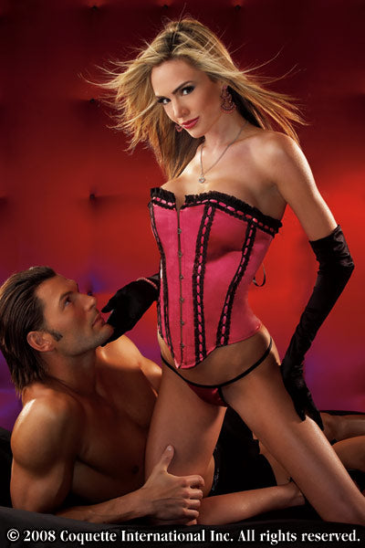Satin Fuchsia 2 Piece Corset Set