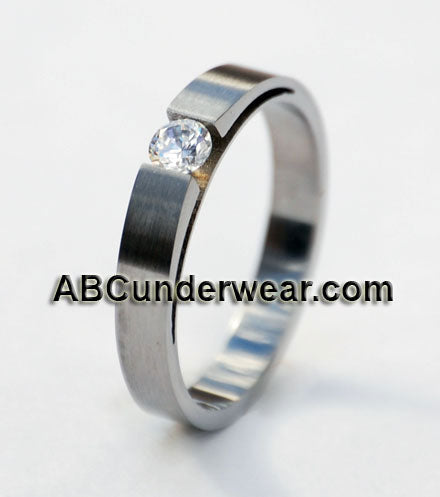 Unisex Stainless Steel Tension Ring with Cubic Zirconia