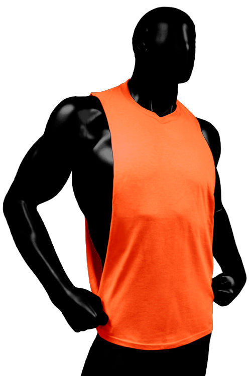 Cutout Muscle Shirt Tank - Neon Orange