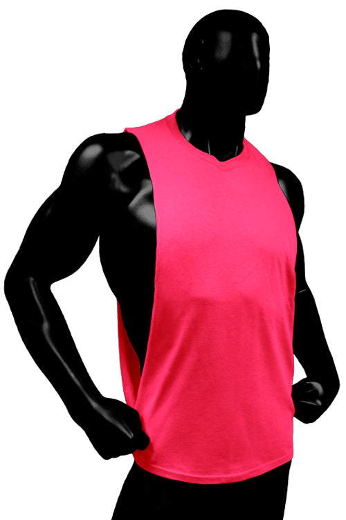 Cutout Muscle Shirt Tank - Hot Neon Pink