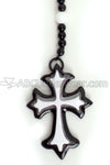 Double Cross Black and White Rosary Necklace