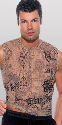 Sheer Dragon Tattoo Muscle Shirt Closeout