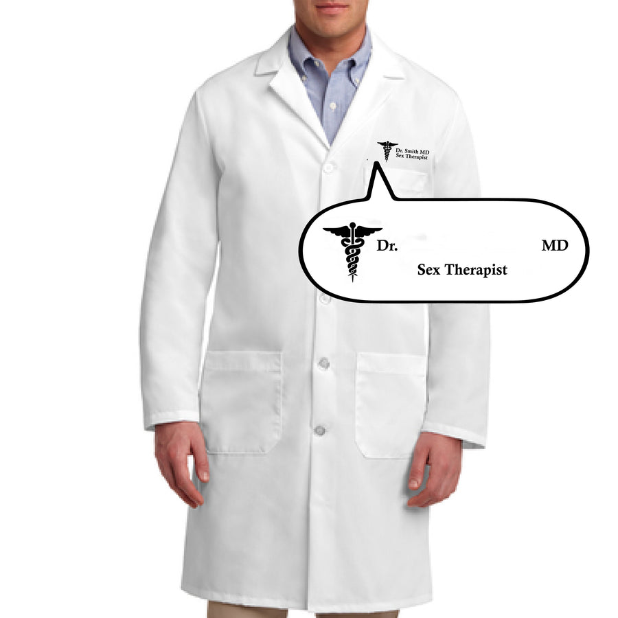 Custom Personalized Sex Therapist Doctor Coat Costume - Dr. ____ MD Sex Therapist