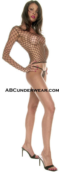 Spandex Fence Net Long Sleeve Top With Thong