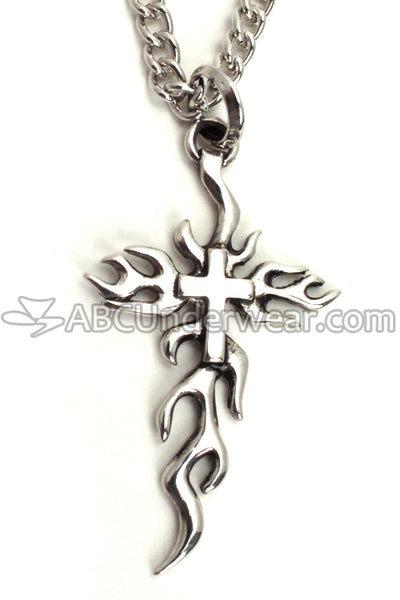 Silver Fire Cross Chain Necklace