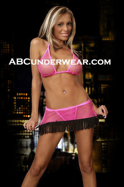 Fishnet Bra, Skirt and G-string Set