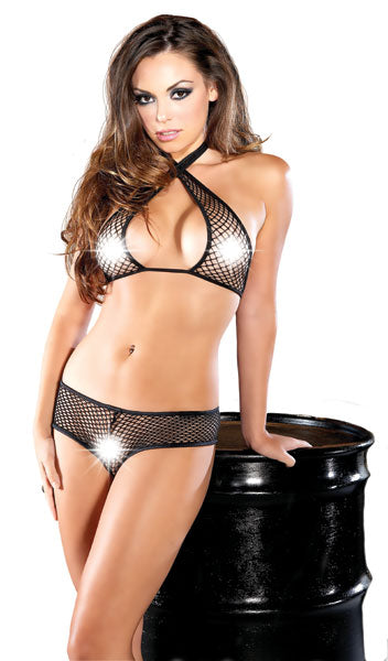 Fishnet Criss Cross Halter Set