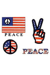 Patriotic American Flag Peace Temporary Tattoos