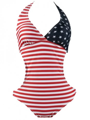 American Flag Ring Halter Women's Swimsuit