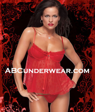Womens Flocked Baby Doll & Gstring - Closeout