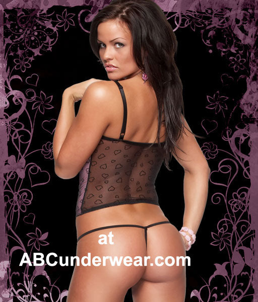 Flocked Heart Bustier with G-string