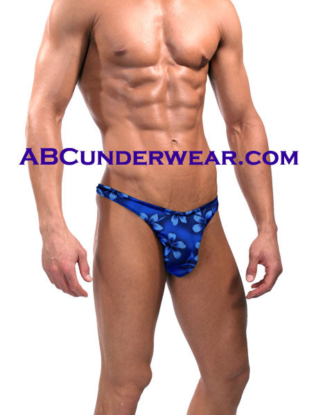 Mens Floral Thong Swimsuit - Closeout